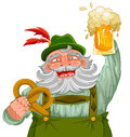 Man holding beer and pretzel in traditional german clothes a bear a Royalty Free Stock Photography