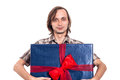 Man holding big gift box happy present isolated on white background Royalty Free Stock Photography