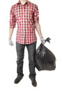 Man holding black plastic trash bag Royalty Free Stock Photo