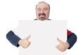 Man holding a blank board giving a thumbs up happy smiling middle aged with goatee white with copyspace for your text gesture of Stock Photography