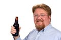 Man holding bottled beer mature smiling holds a of Stock Photo