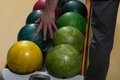 Man holding a bowling ball Stock Photography