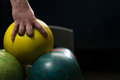Man holding a bowling ball Royalty Free Stock Images