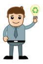 Man holding a bulb having recycling idea concept conceptual drawing art of cartoon young ecological icon and presenting vector Royalty Free Stock Images
