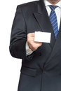 Man holding business card his hand isolated white background vertical Stock Image