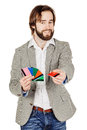 Man holding a credit card isolated on white background Royalty Free Stock Photo