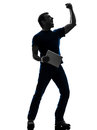 Man holding digital tablet silhouette one in on white background Royalty Free Stock Photography