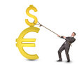 Man holding dollar and euro sign with rope Royalty Free Stock Photo
