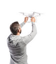 Man Holding Drone. Studio Shot...
