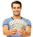 Man Holding Fanned Us Paper Currency Royalty Free Stock Photo