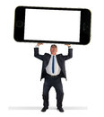 Man holding giant cell smart phone w blank screen Royalty Free Stock Photo
