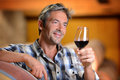 Man holding glass of wine Stock Photography