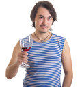 Man holding a glass of wine, isolated on white Royalty Free Stock Photos