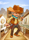 A man holding a gun with a hat outside the saloon illustration of Royalty Free Stock Image