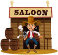 A man holding a gun outside the saloon bar illustration of on white background Royalty Free Stock Photos
