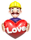 A man holding a Heart. 3D works Chara Stock Photos