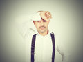 Man holding his head pain closed eyes in headache migraine Royalty Free Stock Photo