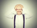 Man holding his head pain closed eyes in headache migraine Royalty Free Stock Photography