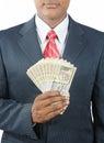 Man holding indian money Royalty Free Stock Photo