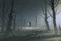 Man holding lantern stands in dark forest with fog illustration painting Stock Images
