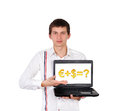 Man holding laptop Stock Photo