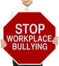 Man holding modified stop sign workplace bullying Stock Images
