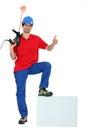 Man holding paint mixer Royalty Free Stock Photo