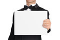 Man holding paper businessman in tuxedo blank Royalty Free Stock Photo