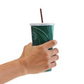 Man holding a paper cup with tube isolated over white background Royalty Free Stock Image