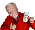 Man holding with pleasure one hundred dollar bill elderly Royalty Free Stock Photos