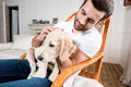 Man holding puppy Royalty Free Stock Photo