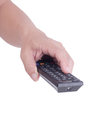 Man holding remote control television isolated over white background Stock Photo