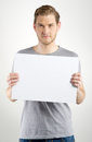 Man holding sign Royalty Free Stock Photo