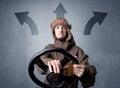Man holding steering wheel Royalty Free Stock Photo