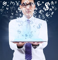 Man holding tablet for making money online Royalty Free Stock Photo