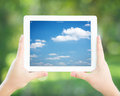 Man holding tablet PC Royalty Free Stock Photo