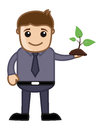 Man holding a tiny plant vector conceptual drawing art of young presenting small green illustration Royalty Free Stock Images