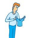Man holding a tiny shirt