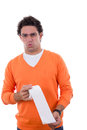 Man holding toilet paper with stomachache Royalty Free Stock Photo
