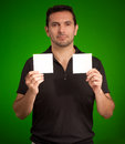 Man holding two blank cards Royalty Free Stock Images