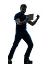 Man holding watching digital tablet silhouette one caucasian in on white background Stock Photo