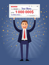 Man holding winning check for one million dollars lottery and rich lucky smile cheque and money vector illustration Royalty Free Stock Photography