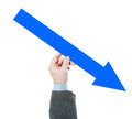 Man holds downwards arrow Royalty Free Stock Photo
