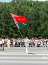 Man holds flag of Belarus Royalty Free Stock Photography