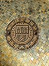 Man hole cover prague czech details Stock Photos