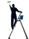 Man house painter worker silhouette Royalty Free Stock Images