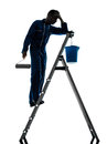 Man house painter worker silhouette one caucasian in studio on white background Stock Image