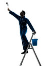 Man house painter worker silhouette one caucasian in studio on white background Stock Photo