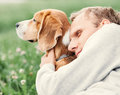 Man hugs his favorite dog Royalty Free Stock Photo