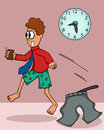 Man in Hurry Forget to Wear His Pants Cartoon